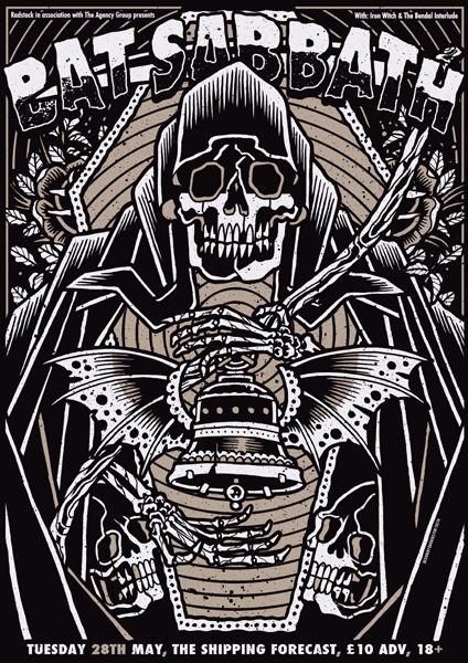 bat sabbath rock show poster - the stick up - brighton may 2013