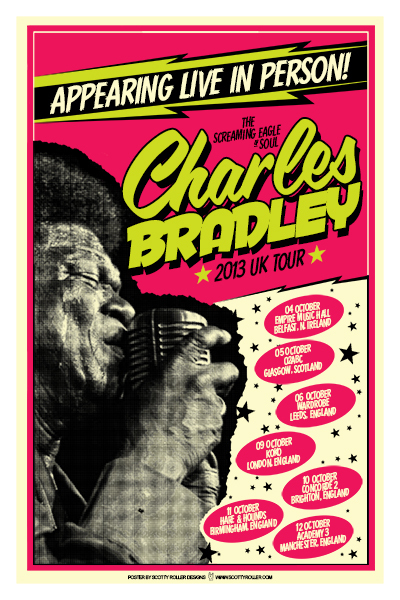 uk tour poster for the soul legend Charles Bradley by scotty roller