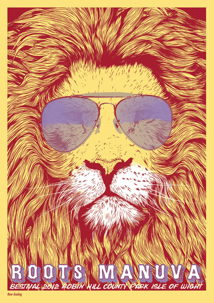 toby whitebread's poster for roots manuva (bestival)