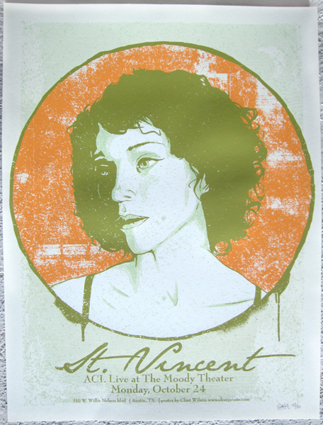 screen printed gig poster for st.vincent by clint wilson of austin texas