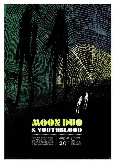 moon duo at the haunt brighton - concert poster handprinted by Petting Zoo Prints & Collectables