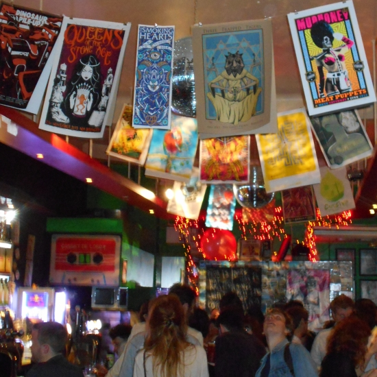 Brighton nightclub and music venue Sticky Mike's Frog Bar decorated with screen-printed gig-posters